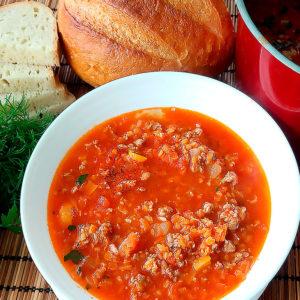 Густой томатный суп с фаршем