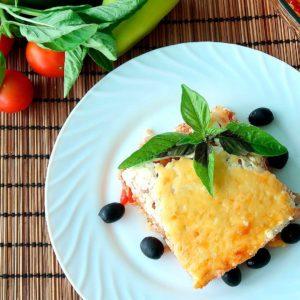 Запеканка с мясом и рисом по-гречески